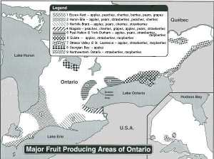 map showing fruit growing areas in Ontario
