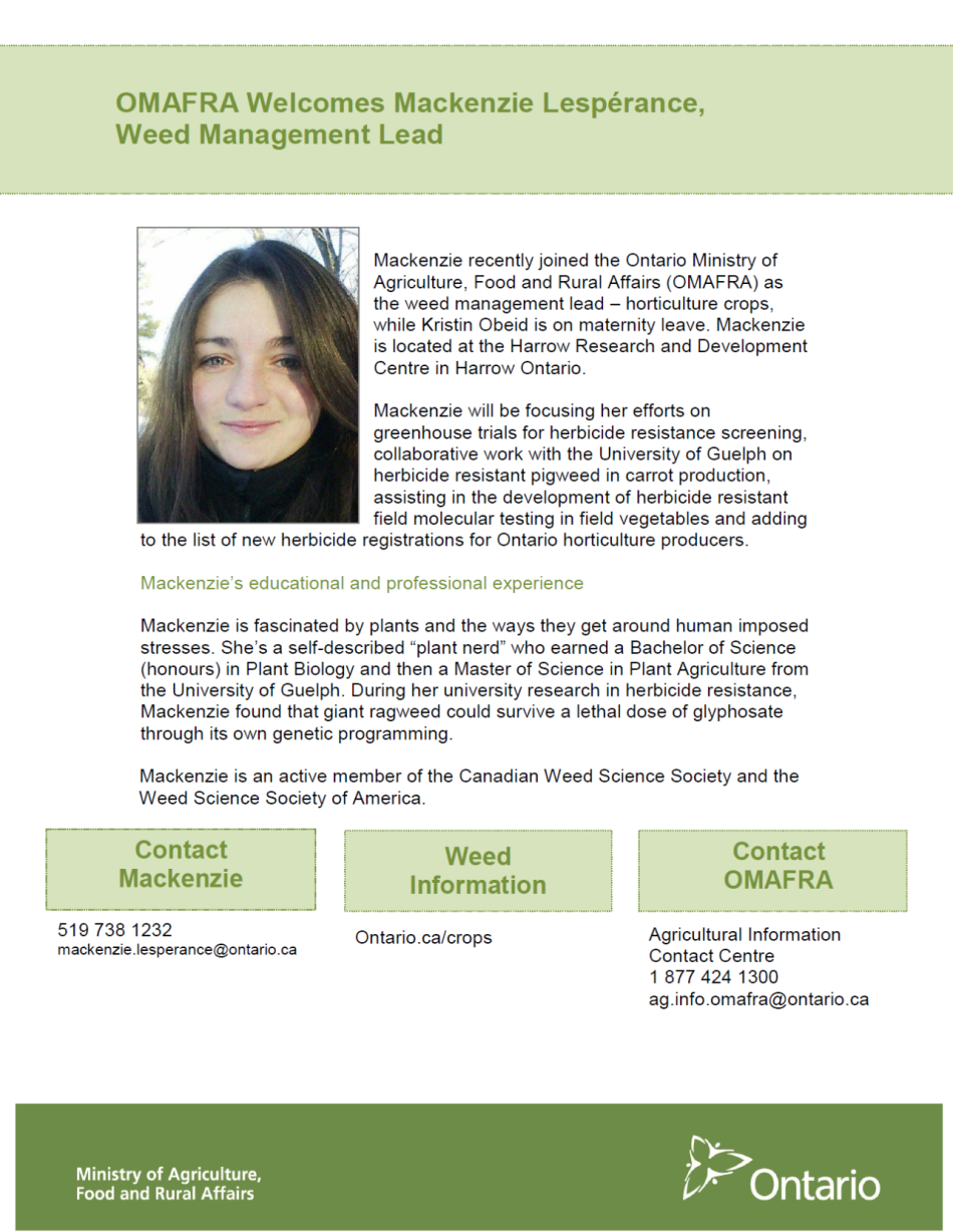 OMAFRA Weed Management Lead